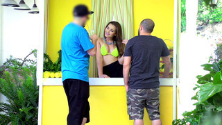 Lemonade girl Dani Daniels serves to customers while_Jessy plays with her pussy Preview Image
