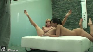 Eve Angel and her blonde friend stick all kinds of shit in their pussies Preview Image
