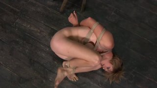 Flexible light haired chick Tracy gets bound with ropes in the_shed Preview Image