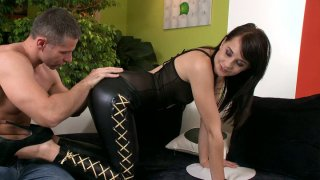 Gothic chick in leather_pants Leda gives a blowjob for cum Preview Image