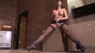 crotchless panty with sexy black stocking Preview Image