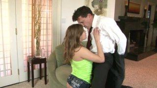 Beautiful brown haired hoe Ashlynn Leigh gives blowjob Preview Image