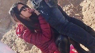 Amateur Chinese chick and her boyfriend bang doggy style outdoor Preview Image