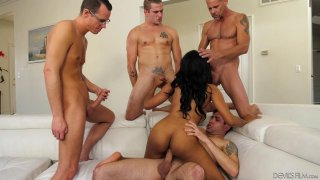 Bubble butt black chick gangbanged by big dicked white stallions Preview Image