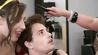 Nasty hairdressers fucks young cock in salon Preview Image