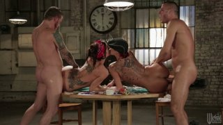 Kayla Carrera and Gia Dimarco hardcore orgy after a poker game Preview Image