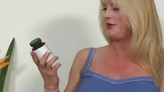 A big tit blonde MILF hallucinating that she is riding a large black cock Preview Image