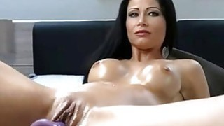 Beauty brunette fucking pussy with sexmachine Preview Image