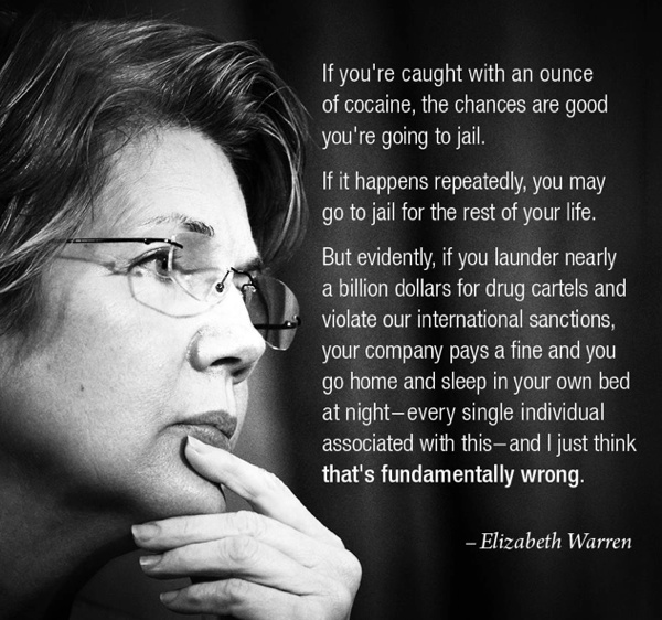 elizabeth warren laundering Elizabeth Warren On Justice Double Standards