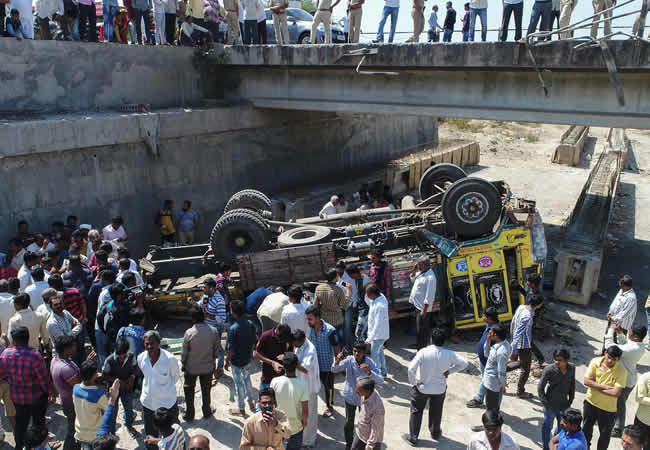 Image result for 30 killed as truck carrying wedding guests plunges off the bridge