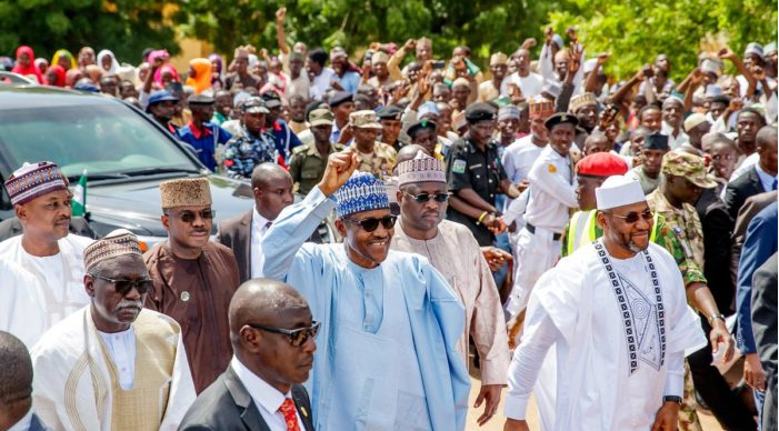 Image result for Buhari has demonstrated his fitness for second term by trekking 800 metres —Presidency