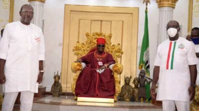 Edo 2020: Oba of Benin holds peace meeting with Obaseki, Ize-Iyamu