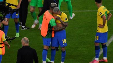 Brazil's Neymar crying after losing the Copa America 2021