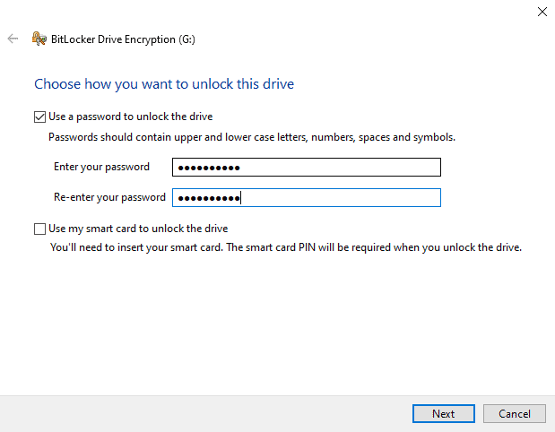 BitLocker add your password