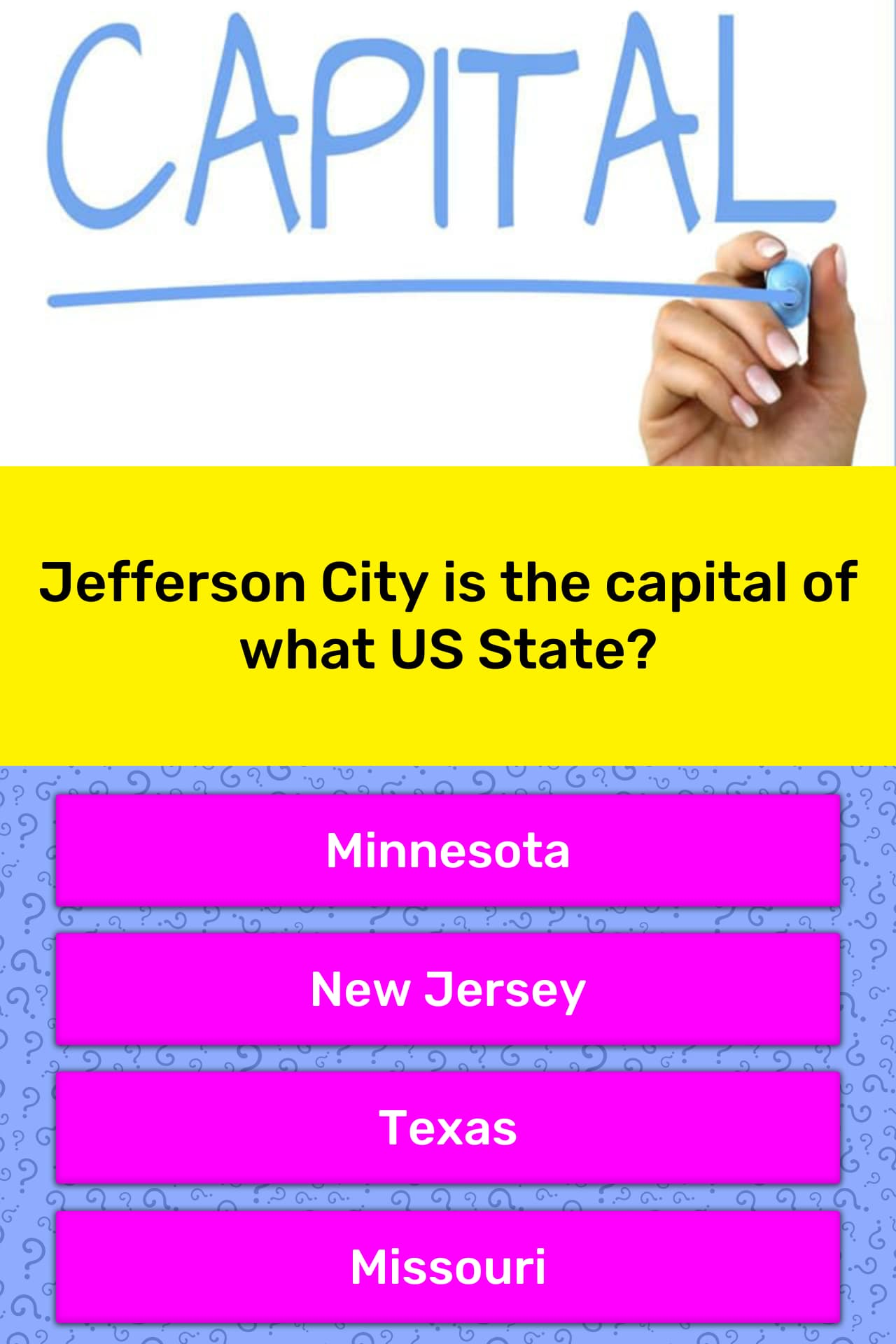 Jefferson City Is The Capital Of
