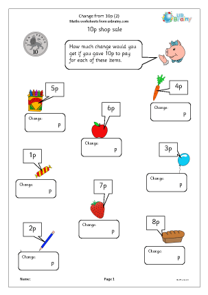 Change from 10p (2) Money Maths Worksheets For Year 1 (age