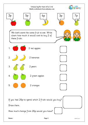 Shopping For 2 Money Maths Worksheets For Year 1 Age 5 6