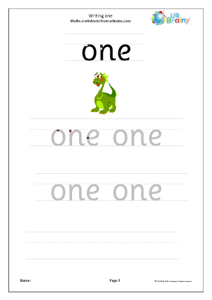 Writing One Writing Numbers as Words Maths Worksheets For