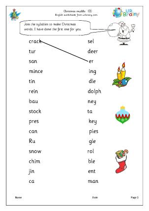 Christmas Muddle 3 English Worksheet For Key Stage 1