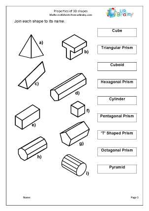 Properties of 3D Shapes Geometry (Shape) Maths Worksheets