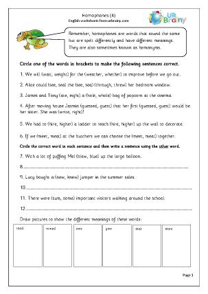 Homophones 4 English Worksheet For Key Stage 1
