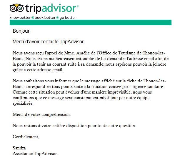 Réponse de Tripadvisor à la demande de l'office du tourisme de Thonon-les-Bains de retirer le message