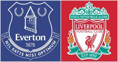 Les emblèmes des deux clubs liés à la genèse de l'histoire d'Anfield : les Bleus d'Everton et les Rouges de Liverpool.