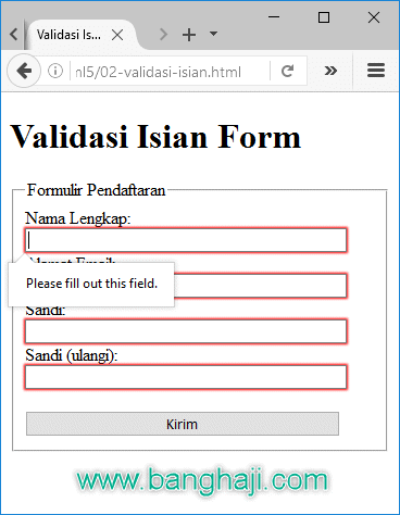 Membuat Form Registrasi Dengan Codeigniter : membuat, registrasi, dengan, codeigniter, Praktis, HTML5:, Mudah, Validasi, Wajib, Diisi, BangHaji, DotCom