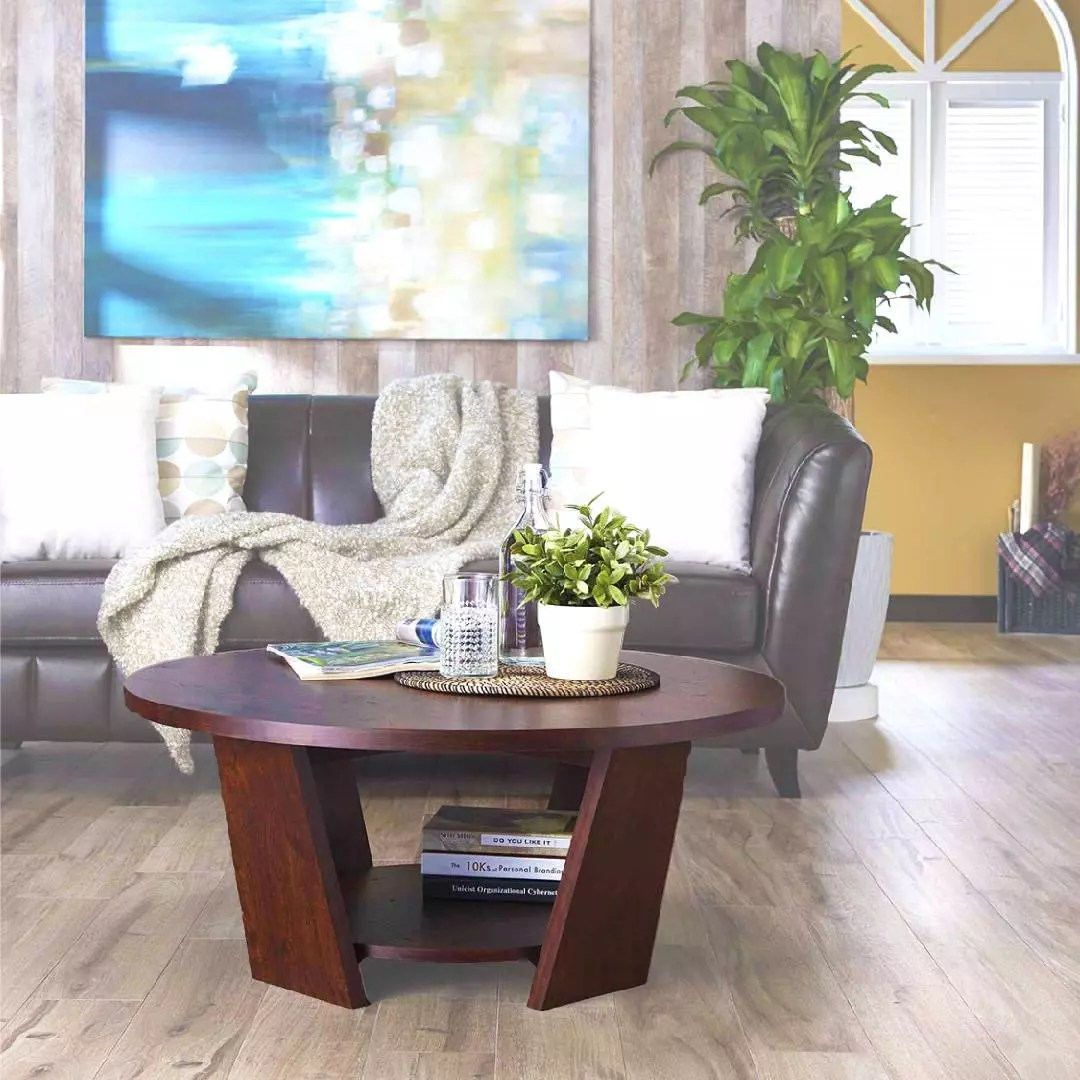 double layer round coffee table safe