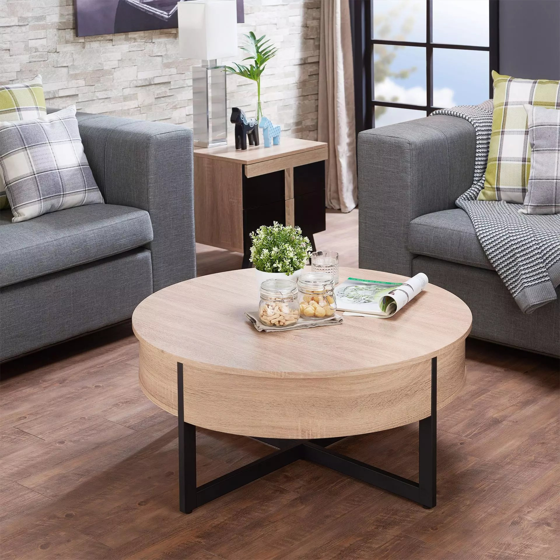 nordic style round drawer coffee table