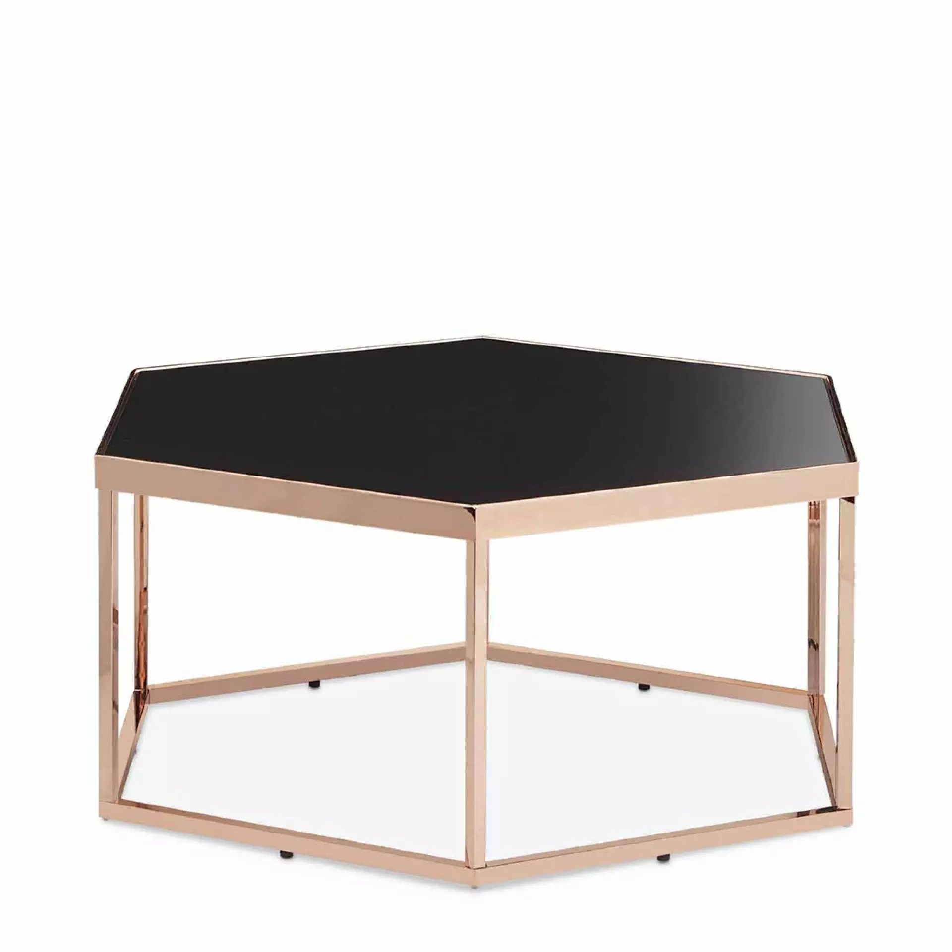 Hexagonal Black Glass Coffee Table Research Development Production Slicethinner
