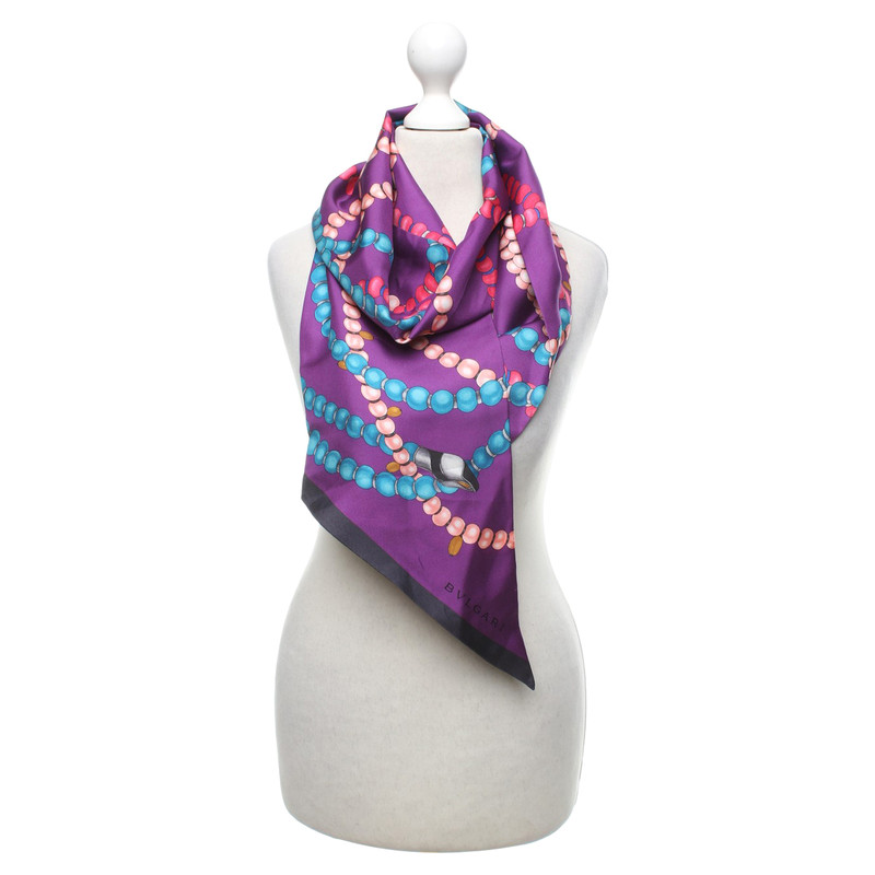 Bulgari Silk scarf with pattern