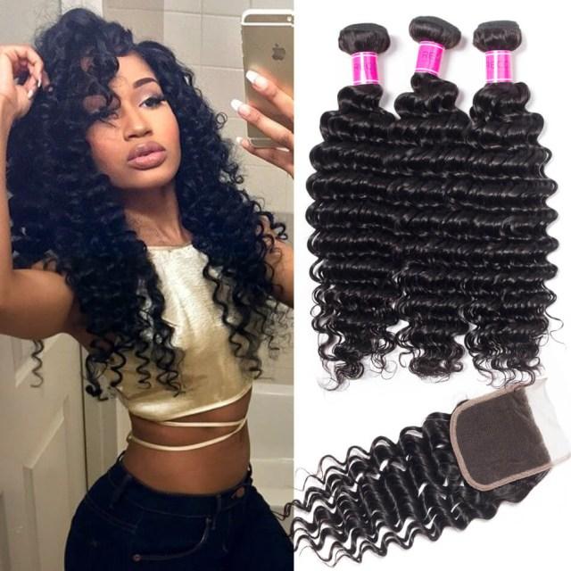 brazilian deep wave bundles with closure recool hair 3 bundles with closure 100% virgin human hair