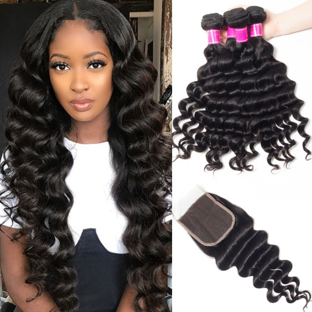 recool virgin hair 4 bundles with closure loose deep wave 10a malaysian human hair bundles with closure