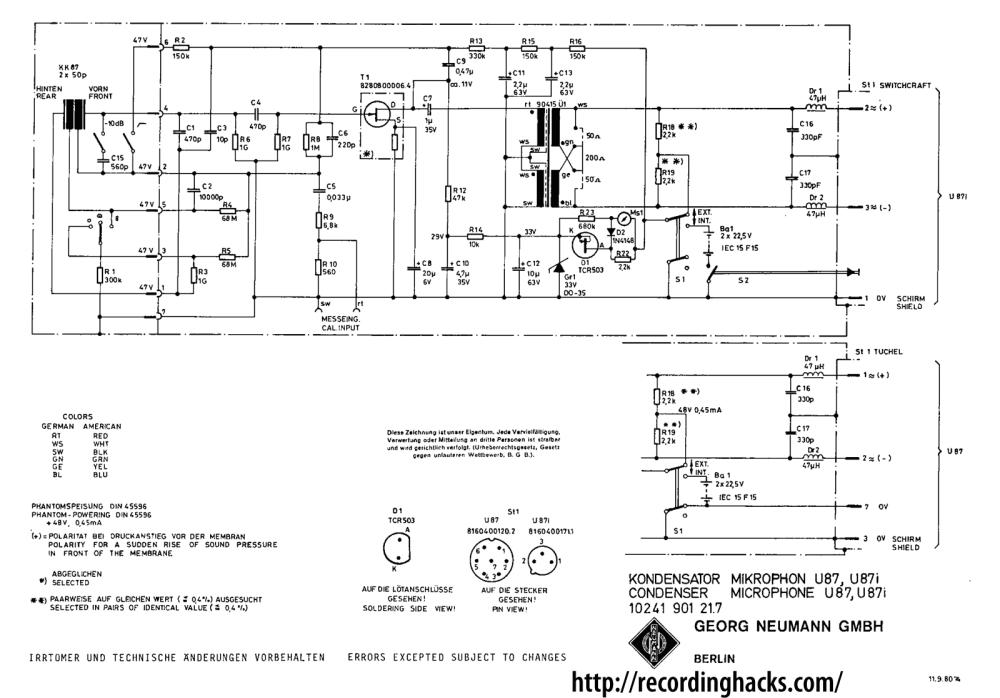 medium resolution of neumann u 87 recordinghacks com circuit diagram also on neumann condenser microphone circuit diagram