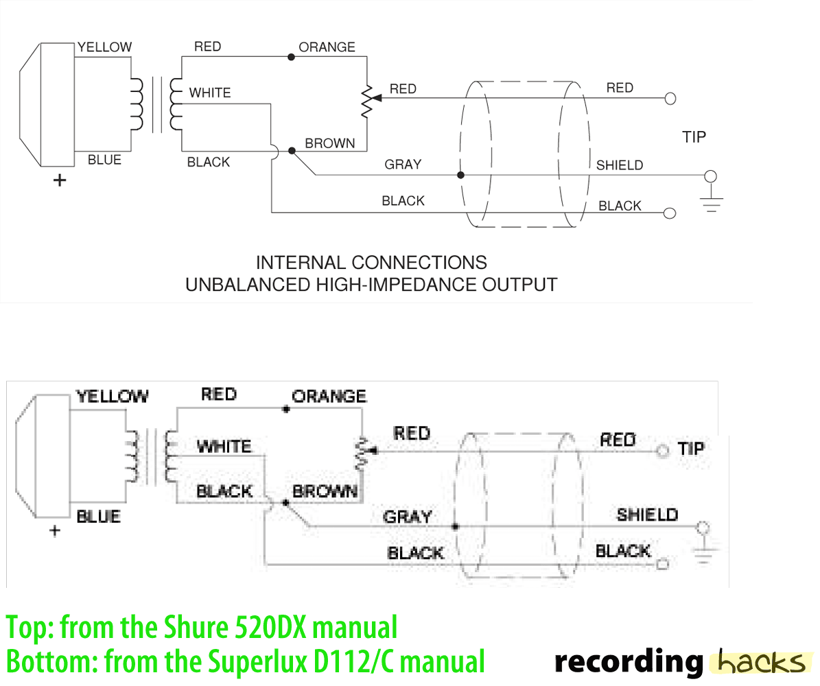 shure microphone cable wiring diagram