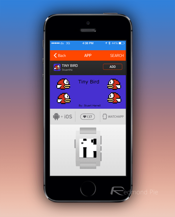 Pebble app Tiny Bird