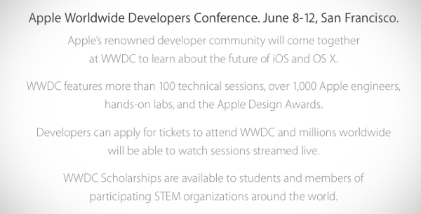WWDC 2015 Dates Announced, Ticket Registration Now Live