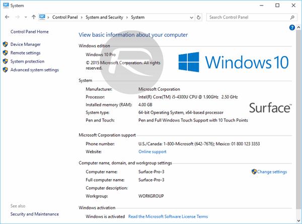 Windows 10 system