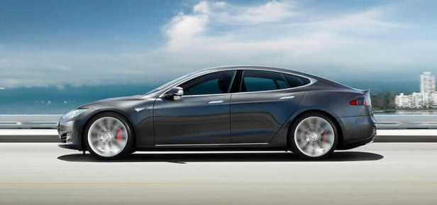 Side view of a Tesla Model S.