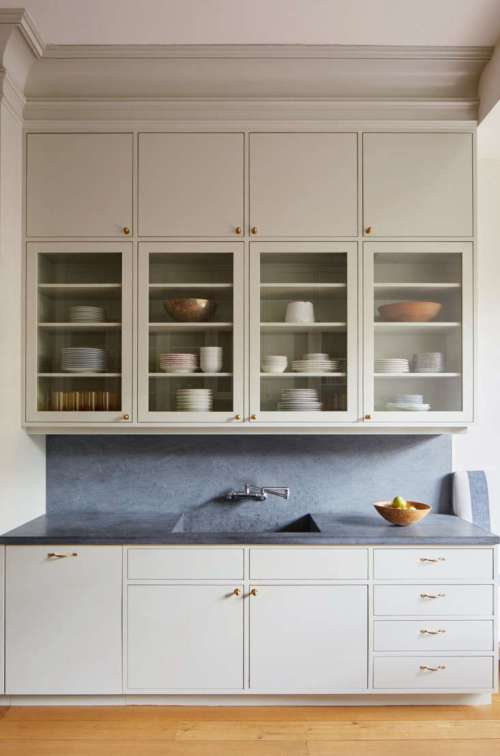 small resolution of drew lang of lang architecture installed two levels of wall cabinets to take advantage of the