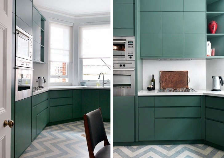 linoleum kitchen flooring cost of countertops remodeling 101 affordable and environmentally friendly uk designer mark smith used gray white zigzag marbled from london