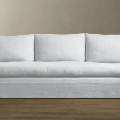 Belgian Linen Sofa Dfs Brown Leather Ebay 10 Easy Pieces Slipcovered Sofas Remodelista Above Restoration Hardware S Classic Roll Arm Is 2 245 For The 7 Foot Version With Down Feather Fill