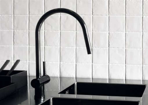 black faucet kitchen country light fixtures high low remodelista above designed by ludovica and roberto palomba for zucchetti the shock is also available in red or blue information go to