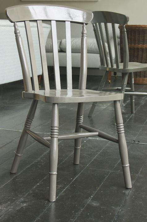 grey painted chairs purple bedroom furniture windsor from howe in london remodelista above each chair features a small metal plaque