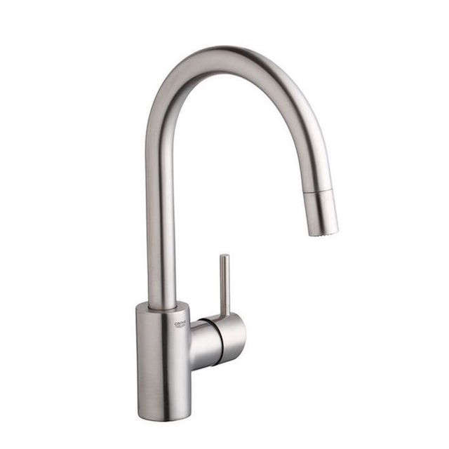 stainless steel kitchen faucet with pull down spray lowes sinks 10 easy pieces sprayer faucets remodelista grohe dual