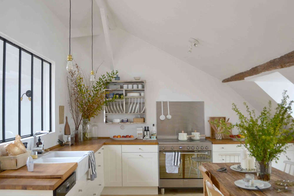 ikea kitchen countertops pantry cabinet steal this look a sunny in the marais remodelista couple installed an grytnas counters cabinets and sink