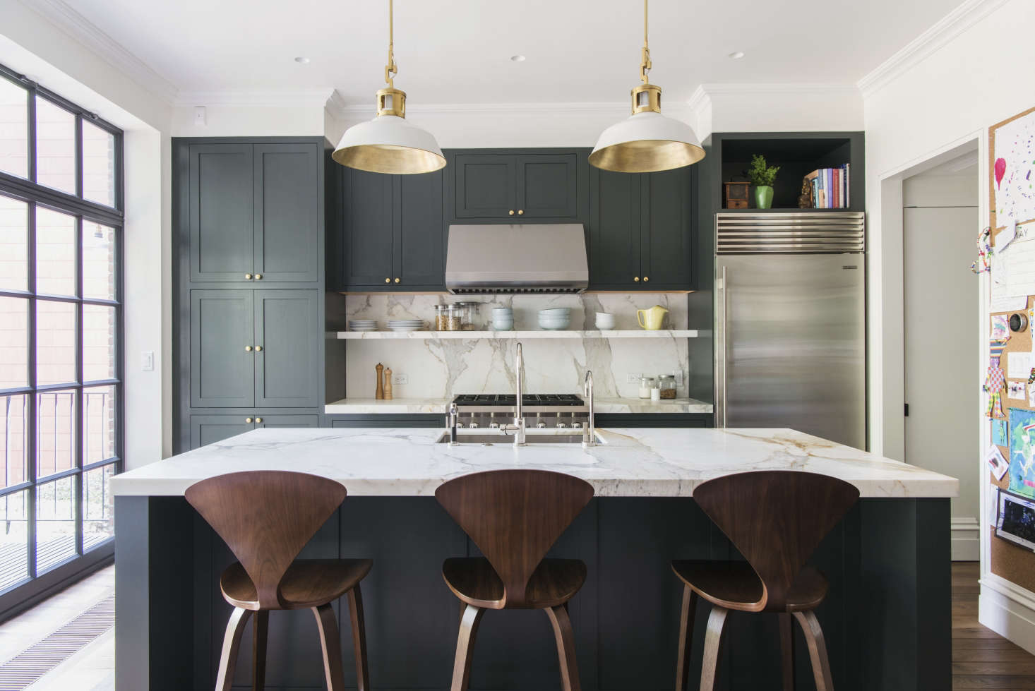 green kitchen cabinets real wood costco trend alert 10 favorite time tested dark kitchens remodelista in a brooklyn townhouse gutted and remodeled by architect elizabeth roberts for young family