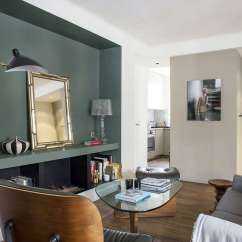 Interior Design For Small Living Room And Kitchen Ideas How To Decorate My Christmas 9 Space Steal From A Tiny Paris Apartment Flea Market Mirror In The Niche Adds Dimension As Does Vintage Roger Prigent