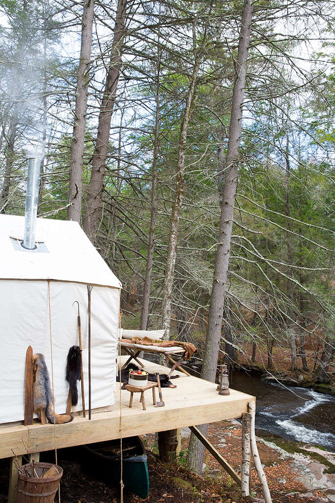 fishing chair tent back pillow for campsite luxe: le petite ten mile river in upstate new york - remodelista